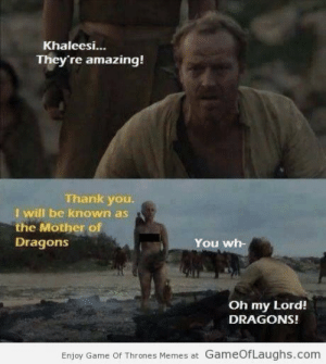 Hehehehe: Khaleesi...  They're amazing!  Thank you.  I will be known as  the Mother of  You wh-  Dragons  Oh my Lord!  DRAGONS!  Enjoy Game Of Thrones Memes at GameOfLaughs.com Hehehehe