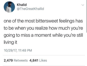Dank, Memes, and Target: Khalid  @TheGreatKhallid  one of the most bittersweet feelings has  to be when you realize how much you're  going to miss a moment while you're still  living it  10/29/17, 11:48 PM  2,479 Retweets 4,841 Likes Wholesome Khalid 🙏🏾 by Ipresi MORE MEMES