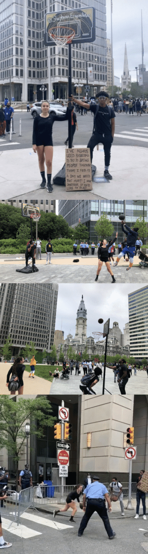 Khalil Gardner & @stephaniae__ Ergemlidze are spreading love in Philly by dragging a basketball hoop around & shooting hoops with people & the police!   📷 @ncannellf & smehmedovic_ https://t.co/lc9IRAYlAJ: Khalil Gardner & @stephaniae__ Ergemlidze are spreading love in Philly by dragging a basketball hoop around & shooting hoops with people & the police!   📷 @ncannellf & smehmedovic_ https://t.co/lc9IRAYlAJ
