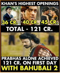 prabhas: KHAN'S HIGHEST OPENINGS  36 CR. 40 CRO  45 CRO  TOTAL 121 CR.  PRABHAS ALONE ACHIEVED  121 CR. ON FIRST DAY  WITH BAHUBALI 2