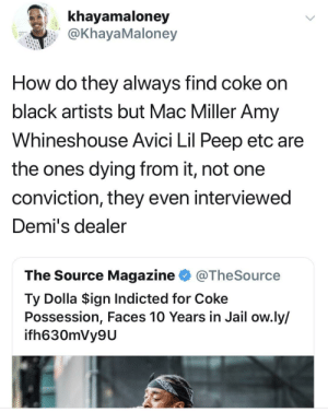 Hmmmm by DC_Sun MORE MEMES: khayamaloney  @KhayaMaloney  How do they always find coke on  black artists but Mac Miller Amy  Whineshouse Avici Lil Peep etc are  the ones dying from it, not one  conviction, they even interviewed  Demi's dealer  The Source Magazine @TheSource  Ty Dolla $ign Indicted for Coke  Possession, Faces 10 Years in Jail ow.ly/  ifh630mVy9U Hmmmm by DC_Sun MORE MEMES