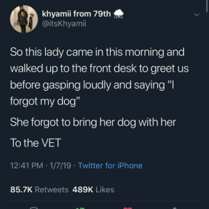 "Iphone, Twitter, and Desk: khyamii from 79th  @itsKhyamii  So this lady came in this morning and  walked up to the front desk to greet us  before gasping loudly and saying ""I  forgot my dog""  She forgot to bring her dog with her  To the VET  12:41 PM 1/7/19 Twitter for iPhone  85.7K Retweets 489K Likes"