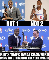 Jamal Crawford: Not 1, Not 2...  #Clippers Nation: KIA  KI  KIA  NOT 1 NOT 2  KIA  KIA  KIA  @NBAMEMES  IA  JAMAL CRAWFORD NAMED 2015-16 KIA NBA SIXTH MAN  GAME 2  DOS SAIL  PLAYA VISTA CALIFORNIA  LIVE  NBAPLAYOFFS WESTERN CONFERENCE  BUT 3 TIMES JAMAL CRAWFORD  WINS THE6TH MAN OFTHEYEARAWARD Jamal Crawford: Not 1, Not 2...  #Clippers Nation