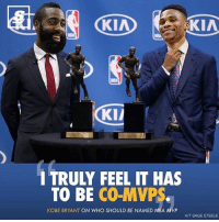 Thoughts on Kobe's thoughts? pc: @thescore Tags: NBA TheScore HN: KIA KIA  KII  TRULY FEEL IT HAS  TO BE CO-MVPs.  KOBE BRYANT ON WHO SHOULD BE NAMED NBA MVP  HT SAGE STEELE Thoughts on Kobe's thoughts? pc: @thescore Tags: NBA TheScore HN