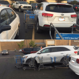 Shopping, Tumblr, and Blog: KIA  lease  Carts In Open Stall  Walma failnation:  This guy was parked in front of the shopping cart stall