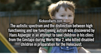 autistic: KickassFacts.com  The autistic spectrum and the distinction between high  functioning and low functioning autism was discovered by  Hans Asperger in an attempt to save children in his clinic  from the Gestapo during World War 2, who killed disabled  children in preparation for the Holocaust