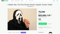 Dank, Food, and Love: KICKSTARTER  Discover  Start a project  About us  Search Projects  Sign up  Log in  A Better Way: The First Chicken Tender-Capable 'Scream' Mask!  by Into Solutions Inc.  70,246  $22,000,119  12  backers  pledged of $1,000,000 goal  days to go  Back This Project  Remind me  This project will only be funded if at least  $1,000,000 USD is pledged by Sun, Feb 22 2016  12:34 PM CST  Into Solutions Inc.  Austin, TX Food Masks  ф  Project We Love  ISINC <p>dank scream mask with a slit so you can eat chicken tenders broke kickstarter&rsquo;s record</p>