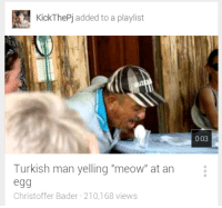 "Man, Turkish, and Meow: KickThePj added to a playlist  0:03  Turkish man yelling ""meow"" at an  egg  Christoffer Bader 210,168 views"