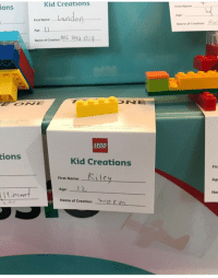Lego, Irl, and Me IRL: Kid Creations  ions  First Name  Age  Nome of Creation:  First Name:  Age:  Name of Creation  LEGO  tions  Kid Creations  Firs  First Name:-  1-1 e  Age  Age:  1 2  Nan  Name of Creation:  ( 「m me irl