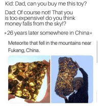 Fukang Meteorite: Kid: Dad, can you buy me this toy?  Dad: Of course not! That you  is too expensive! do you think  money falls from the sky!?  *26 years later somewhere in China*  Meteorite that fell in the mountains near  Fukang, China