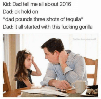 2016 in a nutshell (twitter-leogoldman33): Kid: Dad tell me all about 2016  Dad: ok hold on  *dad pounds three shots of tequila*  Dad: it all started with this fucking gorilla  Twitter: Loogoldman 33 2016 in a nutshell (twitter-leogoldman33)