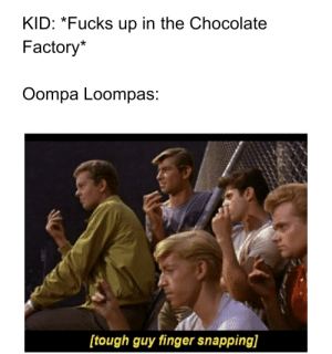 Chocolate, Dank Memes, and Tough: KID: *Fucks up in the Chocolate  Factory*  Oompa Loompas:  [tough guy finger snapping] Oompa Loompa Doopity Doo