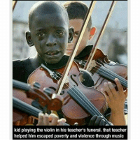 Child's Play, Memes, and Reggae: kid playing the violin in his teacher's funeral. that teacher  helped him escaped poverty and violence through music @Regrann from @killer_queen_612 - The child pictured, Diego Frazão Torquato is crying at the funeral of his mentor and teacher, Evandro João da Silva, who was killed in an assault in October of 2009 in Rio De Janerio. Diego's teacher had helped him escape poverty and violence through his kindness and their shared love of music. Diego was a member of the group Afro Reggae. Diego's teacher taught him and several other kids how to play musical instruments, and they would all play to raise donations for sick children. Unfortunately, Diego died in March of 2010 from complications of leukemia. Caption taken from: https:-kindnessblog.com-2013-10-30-child-playing-the-violin-at-his-teachers-funeral- Humanity - regrann