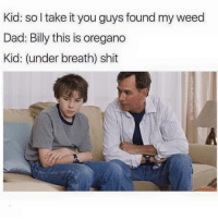Memes, 🤖, and Weeds: Kid: so take it you guys found my weed  Dad: Billy this is oregano  Kid: (under breath) shit Snapchat Dankmemesgang  IG thefunnyintrovert