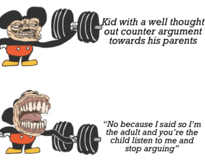 "More of the best memes at http://mountainmemes.tumblr.com: Kid with a well thought  out counter argument  towards his parents  ""No because I said so I'm  the adult and you're the  child listen to me and  stop arguing"" More of the best memes at http://mountainmemes.tumblr.com"