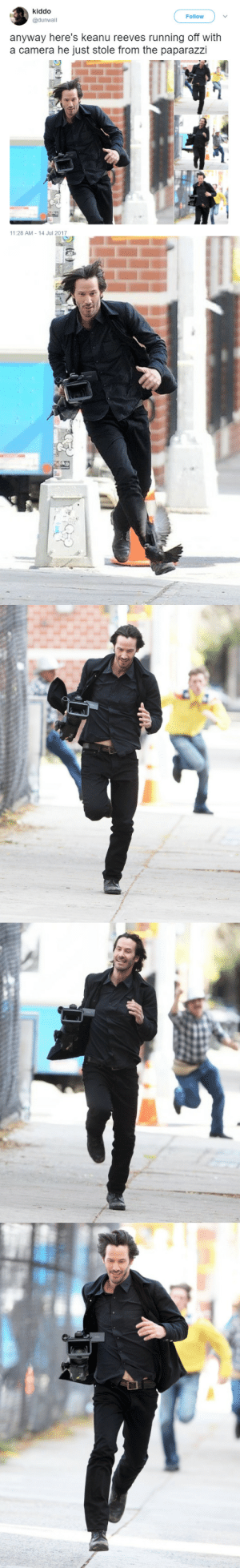 Apparently, Beautiful, and Tumblr: kiddo  @dunwall  Follow  anyway here's keanu reeves running off with  a camera he just stole from the paparazzi  11:28 AM 14 Jul 2017 youngcoral:  thenatsdorf:Keanu Thieves (via mushroombirdornaments) So these are apparently from a movie. Found an article about it here.Regardless, his smiles are beautiful in these pictures. 3