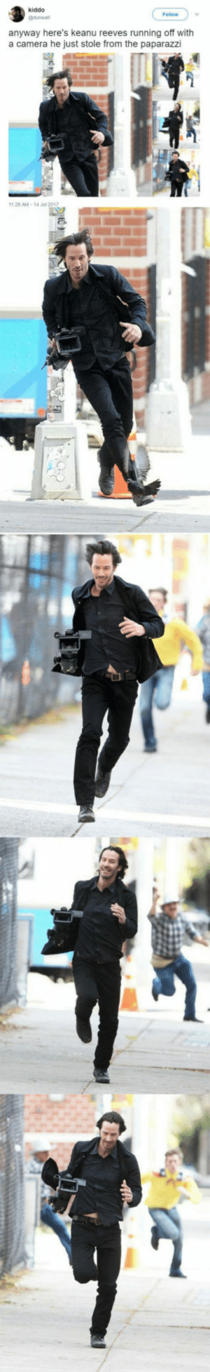 Camera, Running, and Keanu Reeves: kiddo  Follow  anyway here's keanu reeves running off with  a camera he just stole from the paparazzi  28 AM-14 l 201Y Keanu is a national treasure