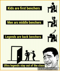 #TheSameOldQtiyappa: Kids are first benchers  Men ars middle benchers  Legends are back benchers  Ultra legends stay out of the class  Vias Confused Aatma #TheSameOldQtiyappa