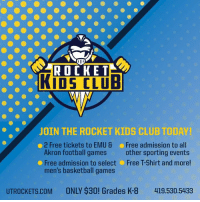 Basketball, Club, and Football: KIDS CLUB  JOIN THE ROCKET KIDS CLUB TODAY  2 Free tickets to EMU& Free admission to al  Akron football games other sporting events  Free admission to select Free T-Shirt and more  men's basketball games  UTROCKETS.COM  ONLY $30! Grades K-8  419.530.5433 Have you signed up for the Rocket Kids Club yet? Benefits of being a Rocket Kids Club member include:  - Two tickets to the Eastern Michigan and Akron football games - Free admission to select men's basketball games - Free admission to all other home sporting events (including women's basketball) - Free T-Shirt  Sign up today for a low price of $30: http://bit.ly/2uXdvaB