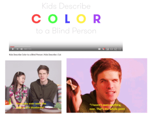 """rookie error by heathy_poop MORE MEMES: Kids Describe  СOLOR  Blind Person  0:07/3:25  С3  CC  Kids Describe Color to a Blind Person   Kids Describe   Cut  Have you ever seen the  """"I haven't seen anything,  ever, that's the whole point  coloupof a blueberry? rookie error by heathy_poop MORE MEMES"""