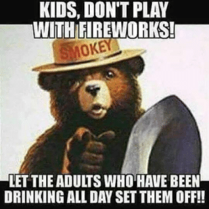 Drinking, Fireworks, and Kids: KIDS, DON'T PLAY  WITH FIREWORKS  MOKEY  LET THE ADULTS WHO HAVE BEEN  DRINKING ALL DAY SET THEM OFF!! Remember Kids on this Fourth of July