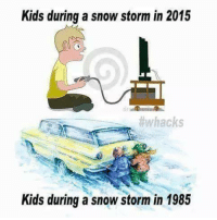 snowstorm: Kids during a snowstorm in 2015  #whacks  Kids during a snow storm in 1985