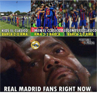 Football, Memes, and Real Madrid: KIDS EL CLASICO  MENIEL CLASICOI LEGENDS EL CLASICO  BARCA 2-0 RMA RMA 243 BARCA  BARCA 3-2 RIMA  REAL MADRID FANS RIGHT NOW Barca won 3 El Clasico's in a week.. 😂😩 🔺FREE FOOTBALL EMOJIS -> LINK IN OUR BIO!!! Credit ➡️ @thefootballarena