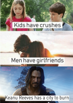 Kids, Girlfriends, and Keanu Reeves: Kids have crushes  Men have girlfriends  MICROTECH HYDRA VER. 2.1:22.003  BIO 302  SYSTEM SETUP NAV  Keanu Reeves has a city to burn burn city🔥🔥
