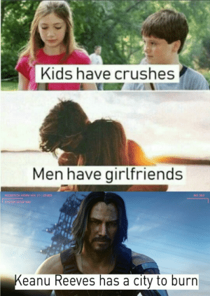 Best, Kids, and Girlfriends: Kids have crushes  Men have girlfriends  MICROTECH HYDRA VER. 2.1  22.003  BIO 30:2  SYSTEM SETUP NAV  Keanu Reeves has a city to burn Keanu reeves is the best