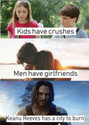 Kids, Girlfriends, and Irl: Kids have crushes  Men have girlfriends  MICROTECH HYDRA VER. 2.1 22.003  BIO 30:2  SYSTEM SETUP NAV  Keanu Reeves has a city to burn me_irl