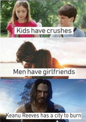 Kids, Girlfriends, and Keanu Reeves: Kids have crushes  Men have girlfriends  MICROTECH HYDRA VER. 2.1 : 22.003  BIO 30:2  SYSTEM SETUP NAV  Keanu Reeves has a city to burn