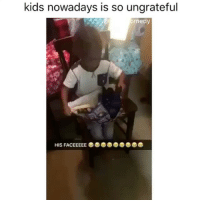 Funny, Memes, and Lil: kids nowadays is so ungrateful  omedy lil man salty as hell he got a pair of gloves. Like bitch tf im supposed to do with this shit?!