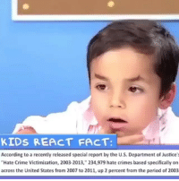 """Crime, Memes, and Period: KIDS REACT FACT:  According to a recently released special report by the U.S. Department of Justice's  """"Hate Crime Victimization, 2003-2013,"""" 234,979 hate crimes based specifically on  across the United States from 2007 to 2011, up 2 percent from the period of 2003 Tragic"""