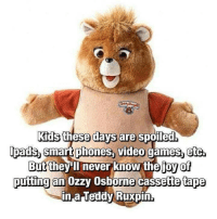 Ipad, Memes, and 🤖: Kids these days are spoiled.  Ipads smart phones, video games, etc  But they ll never know the joyof  putting an Ozzy Osborne cassette tape  in a Teddy Ruxpin.