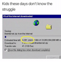 Omg: Kids these days don't know the  struggle  0%of the Internet downloaded  Saving:  theinternet.zip from the Internet  Estimated time left: 4,381 years 14kb of 23,993,564,998 MB c  Download to  C luddstheinternet.zip  Transfer rate:  41.2 KB/sec  Close this dialog box when download completes  Per Omg