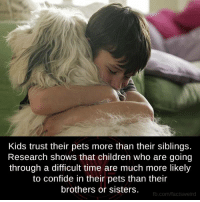 confide: Kids trust their pets more than their siblings.  Research shows that children who are going  through a difficult time are much more likely  to confide in their pets than their  brothers or sisters  fb.com/facts Weird