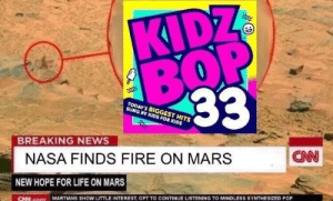 Kidz: KIDZ  TODAY'S BIGGEST HITS  SUNG BY KIDS FOR KIDS  BREAKING NEWS  CNN  NASA FINDS FIRE ON MARS  NEW HOPE FOR LIFE ON MARS  CN com MARTIANS SHOW LITTLE INTEREST, OPT TO CONTINUE LISTENING TO MINDLESS SYNTHESIZED POP