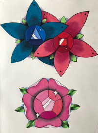 kiimon-art:  I created these Steven Universe inspired floral designs. Ruby, Sapphire and Rose Quartz gems within flowers! 💖: kiimon-art:  I created these Steven Universe inspired floral designs. Ruby, Sapphire and Rose Quartz gems within flowers! 💖