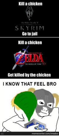 Memes, 🤖, and Video Game: Kill a chicken  The elder Scrolls V  SKY RIM  Go to jail  Kill a chicken  TFIELEKTEND OF  oCARINA OF TIME 3D  Get killed by the chicken  I KNOW THAT FEEL BRO  memecenter.com/imadoo  MC Video game logic! www.memecenter.com/fun/2789541/i-know-that-feel-bro  For the latest Memecenter updates, follow us on twitter at http://twitter.com/MemeCenter