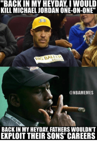 """Michael Jordan, Nba, and One on One: KILL MICHAEL JORDAN ONE-ON-ONE""""  @NBAMEMES  BACK IN MY HEYDAY FATHERS WOULDN'T  EXPLOIT THEIR SONS CAREERS This takes it to another level: http://bit.ly/MJvsLaVar"""