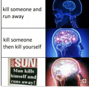 Run, Sorry, and Sun: kill someone and  run away  kill someone  then kill yourself  SUN  Man kills  himself and  runs away! Sorry if repeat