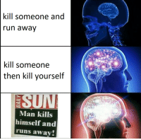 Sun, Man, and Kill Yourself: kill someone and  un awav  kill someone  then kill yourself  SUN  Man kills  himself and  runs away