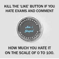 100: KILL THE LIKE' BUTTON IF YOU  HATE EXAMS AND COMMENT  m i  Stupid  HOW MUCH YOU HATE IT  ON THE SCALE OF 0 TO 100