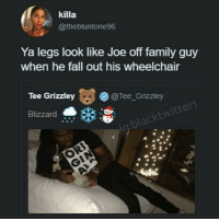 Fall, Family, and Family Guy: killa  @thebluntone96  Ya legs look like Joe off family guy  when he fall out his wheelchair  Tee Grizzley  @Tee_Grizzley  Blizzard 😭