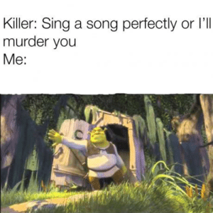 Murder, A Song, and Song: Killer: Sing a song perfectly or l'I  murder you  Me: SomeBODY ONCE TOLD ME