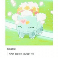 Memes, 🤖, and Looking: killerstyle:  When bae says you look cute pokemon