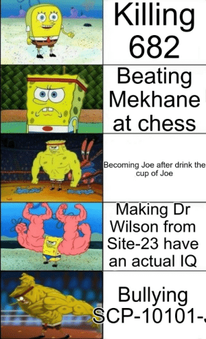 Fuck You, Chess, and Fuck: Killing  682  Beating  Mekhane  at chess   Becoming Joe after drink the  cup of Joe  Making Dr  Wilson from  Site-23 have  an actual IQ  Bullying  SCP-10101-. Fuck you Dr Wilson it's your fault SCP-2317 escaped