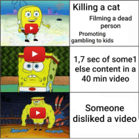 youtube.com, Kids, and Video: Killing a cat  Filming a dead  persorn  Promoting  gambling to kids  u/Hedam  1,7 sec of some1  else content in a  40 min video  u/Hedamo  Someone  disliked a video  LHedam Hip hip hurray youtube is gay