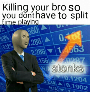 Food, Dank Memes, and You: Killing your bro so,  you donthave to split  fime playing  560  286 0168  14563  .9%   0.12%  2.286  156 0287  WAStonks  0.1204  0.234 0.1902  NA Eat food