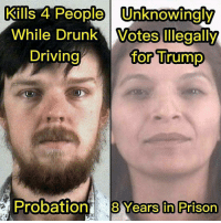 Kills 4 People Unknowingly  While Drunk Votes Illegally  for Trump  Driving  Probation  8 Years in Prison